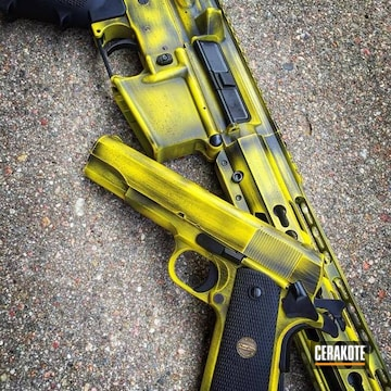 Cerakoted Matching Pistol And Rifle Combo Cerakoted In A Distressed Black/yellow Finish