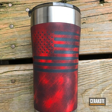 Cerakoted Custom Cup Done In A Distressed Red And Black Cerakote Finish