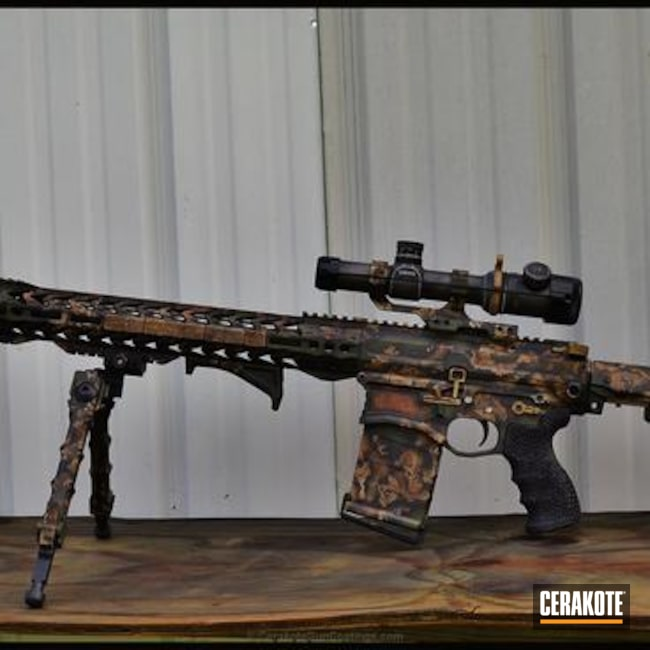 Tactical Rifle Cerakoted in a Custom Organic Pattern Finish