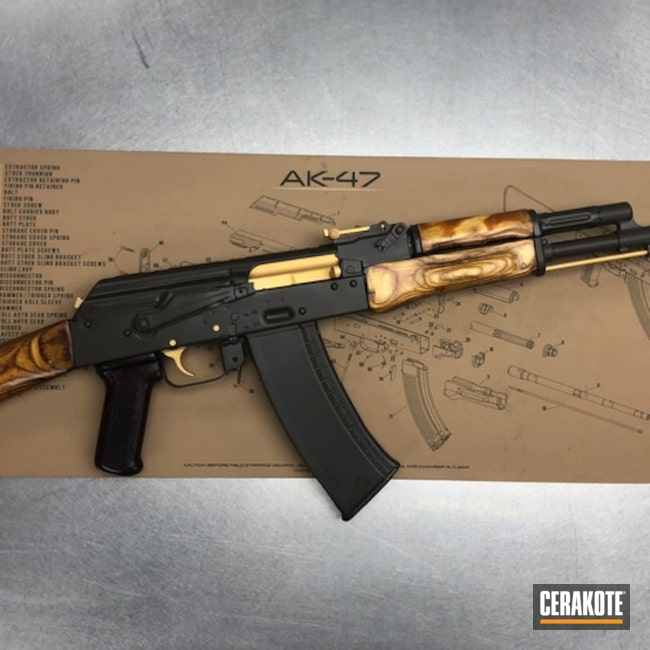 AK-47 Rifle Cerakoted in H-122 Gold and H-298 Plum Brown