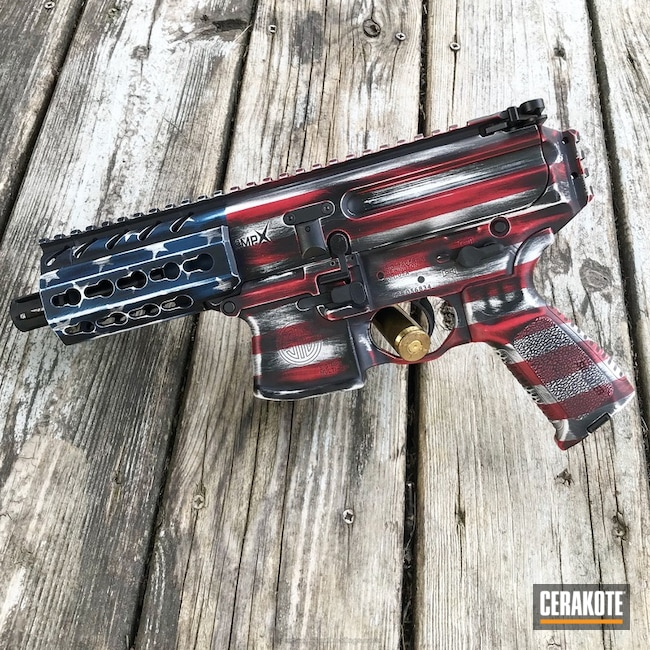Sig Sauer MPX coated in a Custom American Flag Finish