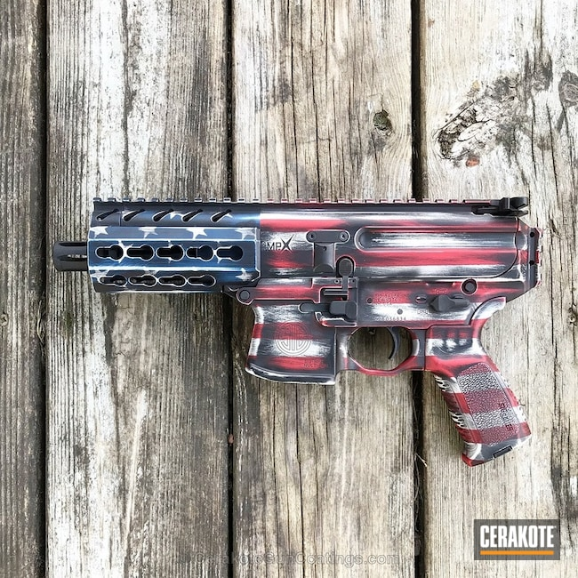 Cerakoted: Red, White and Blue,FIREHOUSE RED H-216,Graphite Black H-146,Distressed,Stormtrooper White H-297,America,American Flag,Sig Sauer,KEL-TEC® NAVY BLUE H-127,Sig MPX