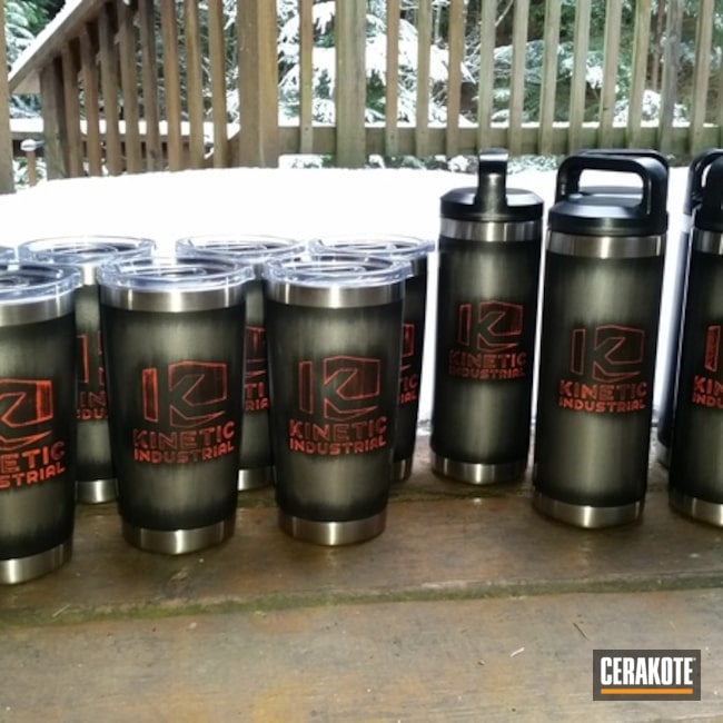 Smaller version of the 3rd project picture. Graphite Black H-146Q, Not Just Guns, YETI Cup, Battleworn, Hunter Orange H-128Q, Custom Tumbler Cup
