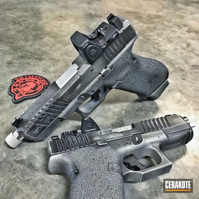 Custom Glock Handguns Cerakoted in H-146 Graphite Black and H-214 Smith & Wesson Grey