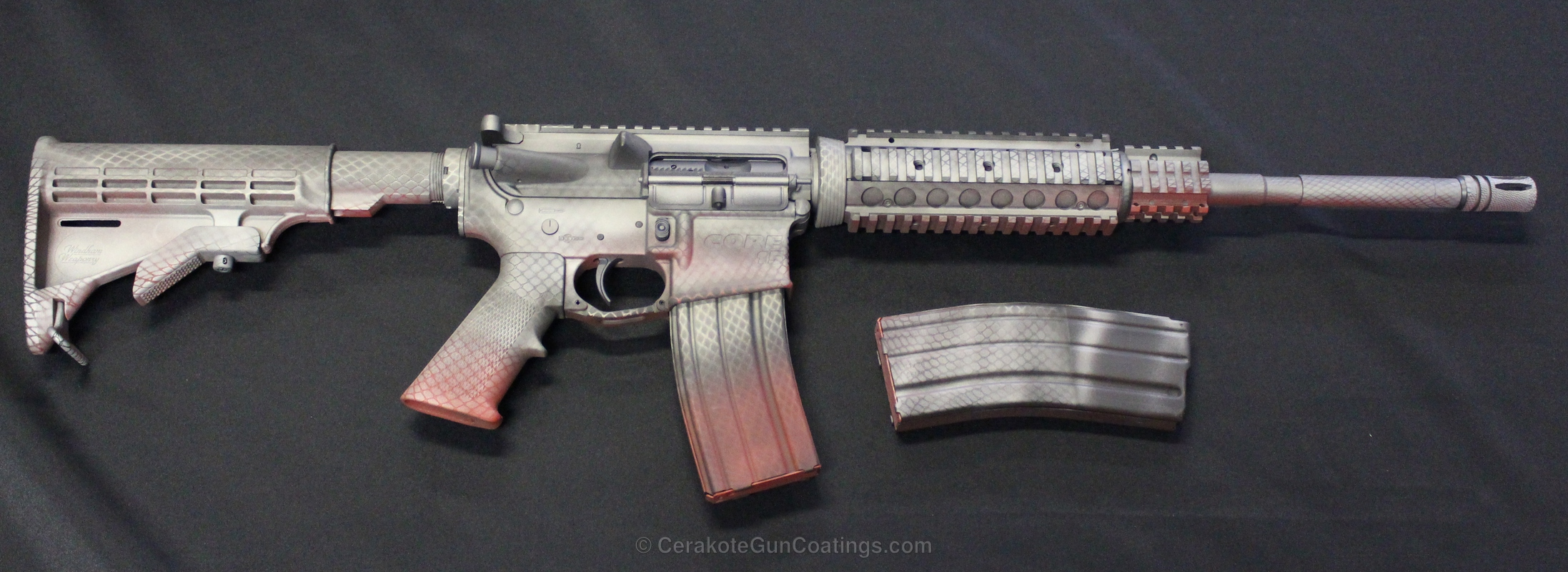 Cerakoted H-255 Crushed Silver With H-216 Smith & Wesson Red And C-110 Micro Slick