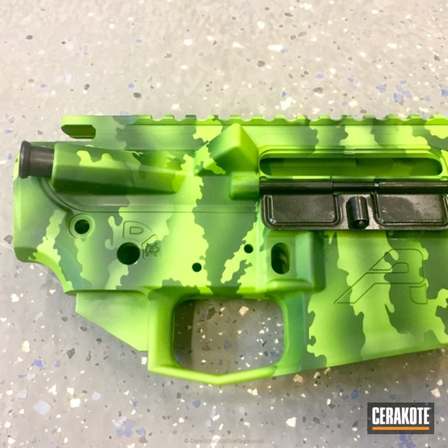 Smaller version of the 2nd project picture. Aero Precision, Custom Camo, AR-15, Zombie Green H-168Q, Highland Green H-200, Upper / Lower / Handguard