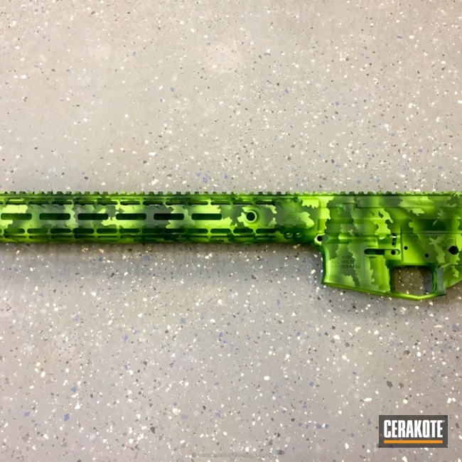 Smaller version of the 3rd project picture. Aero Precision, Custom Camo, AR-15, Zombie Green H-168Q, Highland Green H-200, Upper / Lower / Handguard