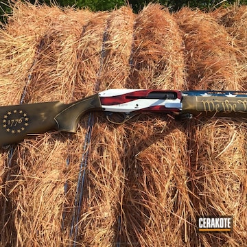 Cerakoted American Flag Shotgun In A Battleworn Cerakote Finish