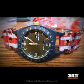 Cerakoted Leatherman Watch With Patriotic American Flag Theme
