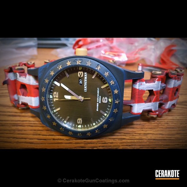 Cerakoted: Patriotic,Leatherman Tread,Leatherman,Stormtrooper White H-297,USMC Red H-167,American Flag,More Than Guns,Watches,Sky Blue H-169
