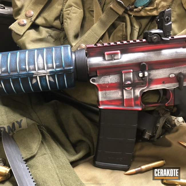 Cerakoted Colt AR-15 in a American Flag Themed Finish