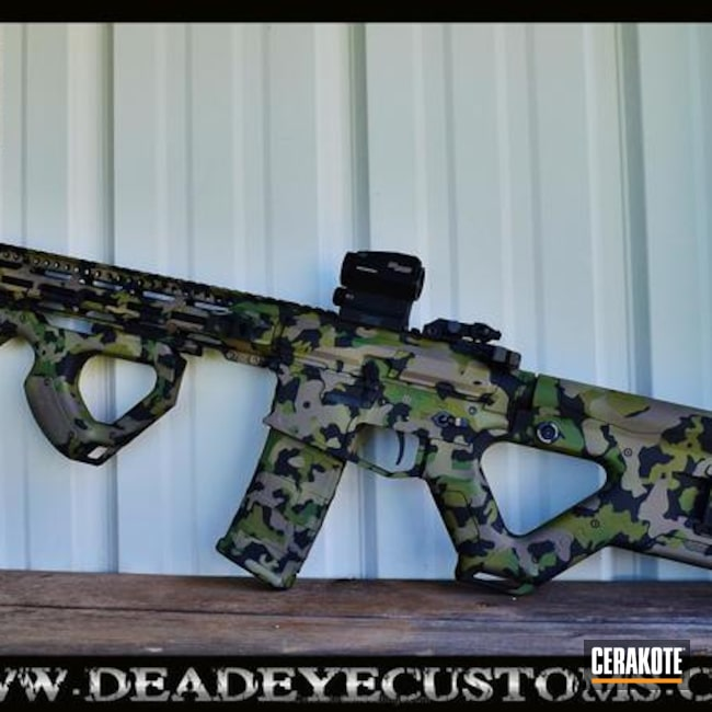 Tactical Rifle coated in a Custom Mixed Cerakote Finish