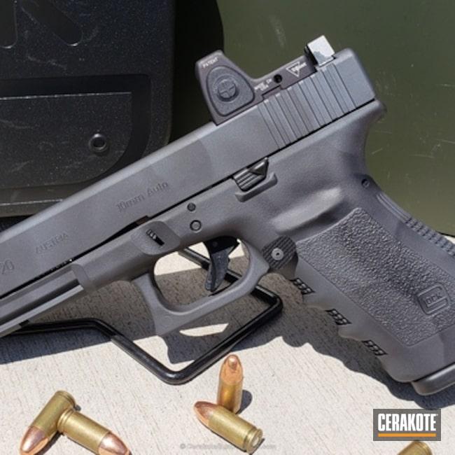 Cerakoted: Custom Paint,Custom,Scallop Design,Graphite Black H-146,Custom Scallop Design,Gun Metal Grey H-219,Pistol,Glock,Pistol Custom Paint,Scallops,Glock 20SF,Custom Pistol