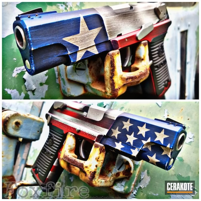 Ruger 1911 Cerakoted in a Half American Flag and Half Texas Flag Finish