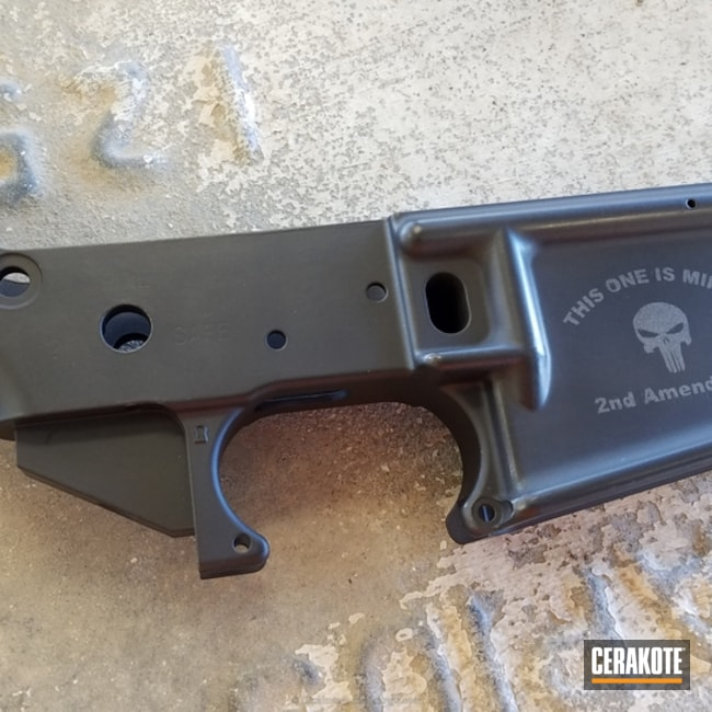AR-15 Lower coated in Cerakote H-146 and H-227 Tactical Grey