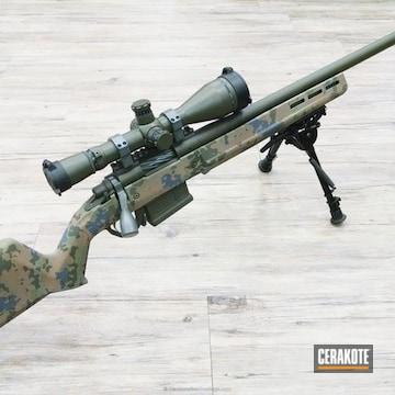 Cerakoted Bolt Action Rifle Coated In A Custom Flecktarn Multicam Finish