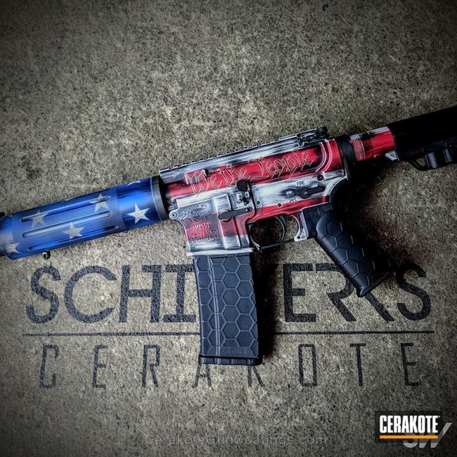 Tactical Rifle Cerakoted in a Custom American Flag Finish