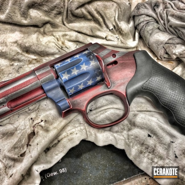 Distressed American Flag Revolver Cerakoted in H-167, H-171 and H-242