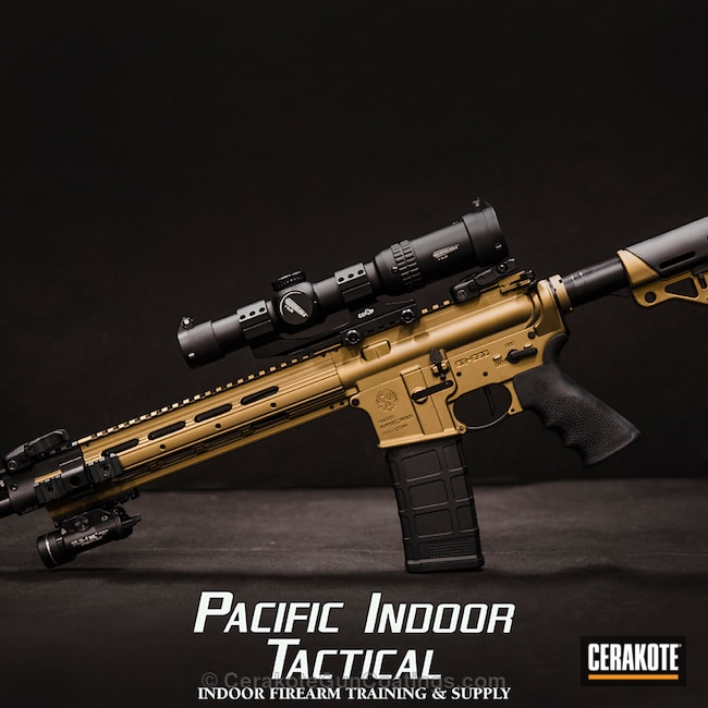 Tactical Rifle Cerakoted in H-148 Burnt Bronze