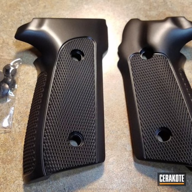 Handgun Grips Cerakoted in H-146
