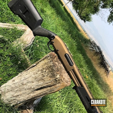 Cerakoted Remington 870 Shotgun Coated In H-148 Burnt Bronze