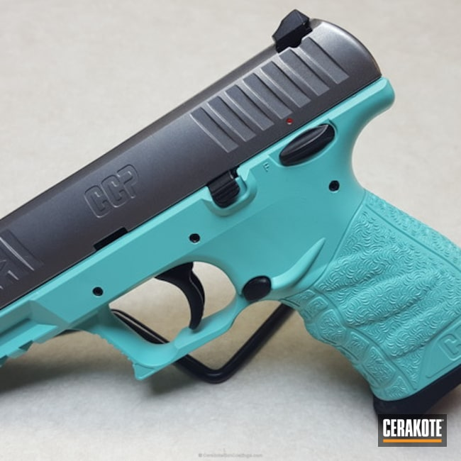 Robin's Egg Blue on this Walther CCP Handgun