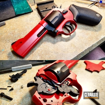 Cerakoted Two Toned Armor Black And S&w Red On This 44 Magnum Revolver