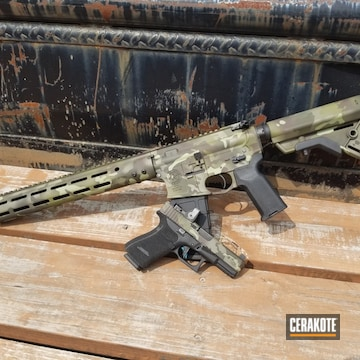 Cerakoted Matching Multicam Glock 19 And Tactical Rifle