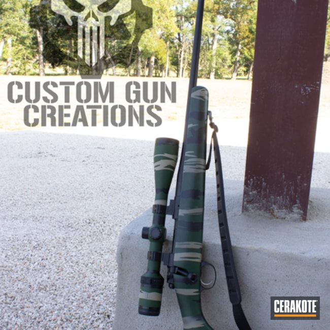 Kimber Bolt Action Rifle coated in Desert Sage, Highland Green and Graphite Black