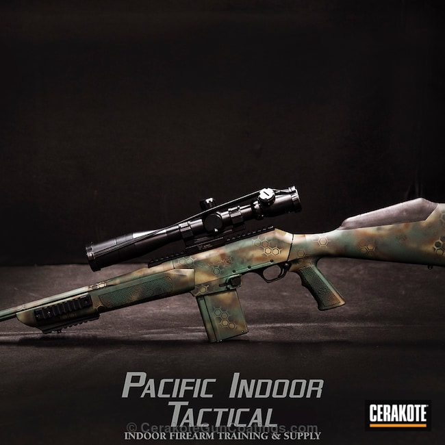 HexPat Bolt Action Rifle coated in Highland Green, MultiCam Green and Barrett Bronze