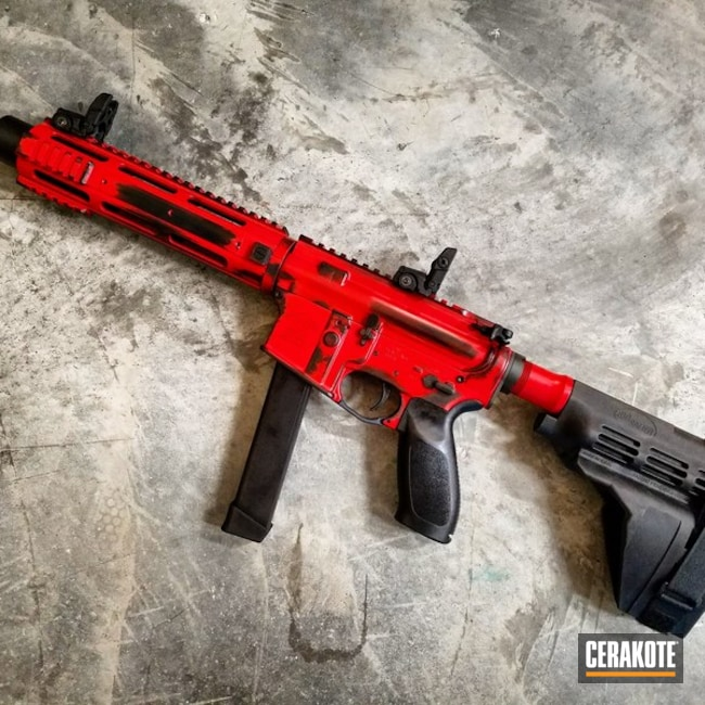 9mm AR Pistol coated in a Two Toned Graphite Black and Smith & Wesson Red Cerakote Finish