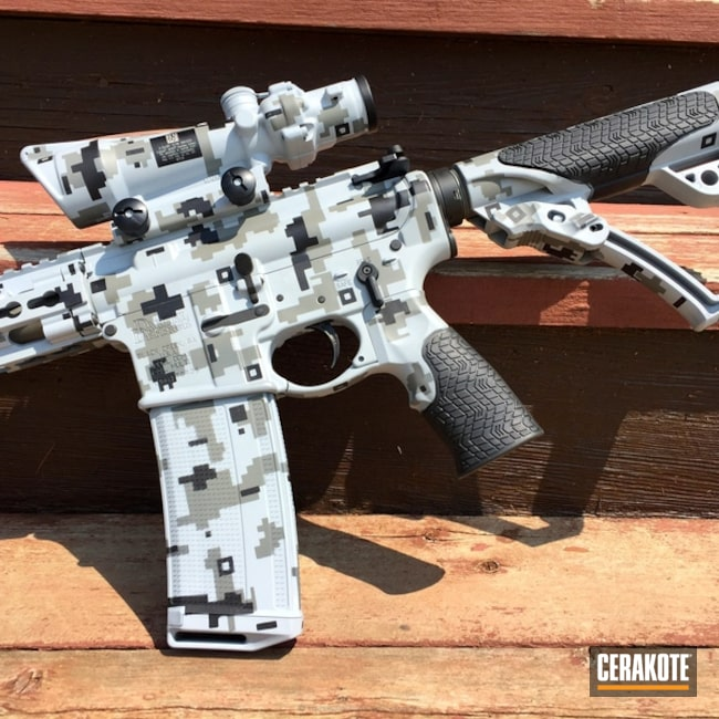 Daniel Defense AR-15 done in a Cerakote Digital Camo Finish