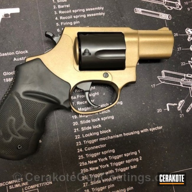 Graphite Black and Burnt Bronze on this Taurus 605 Revolver