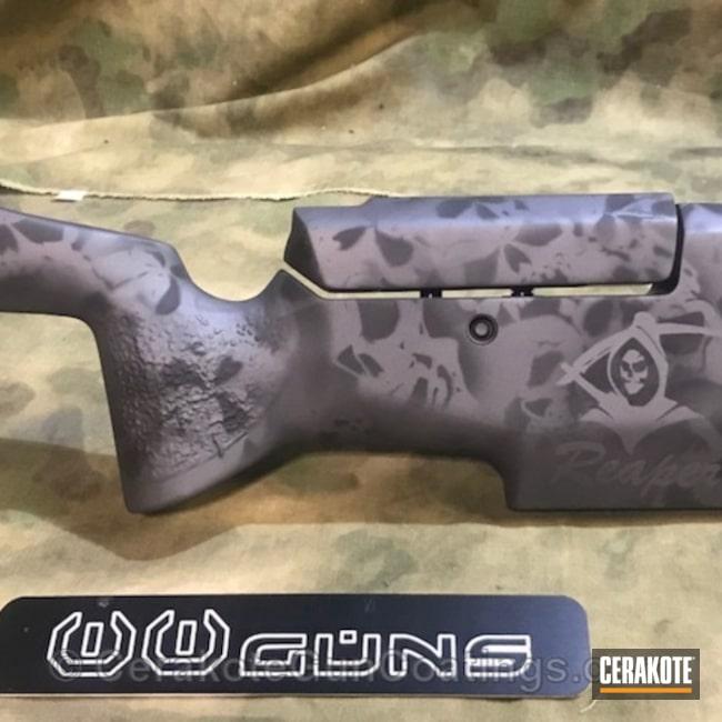 Cerakoted: Rifle Stock,Graphite Black C-102,Skull Camo,Manners T4 Stock,Sniper Grey C-239