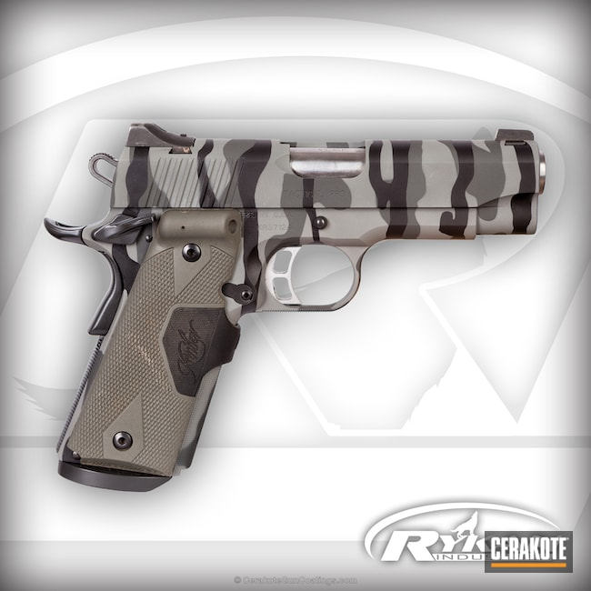 Kimber 1911 Handgun finished in a Striped MultiCam Finish