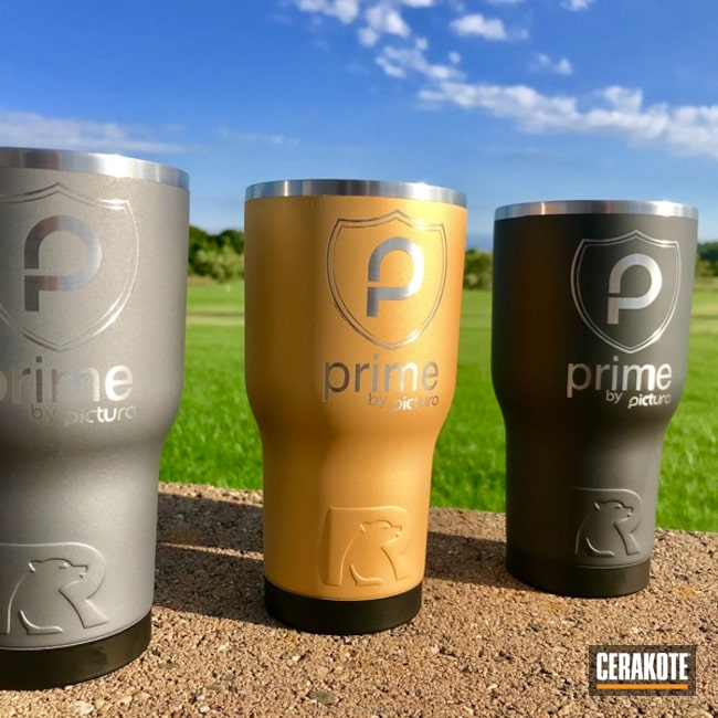 Custom Cups Cerakoted in Graphite Black, Gold and Tactical Grey