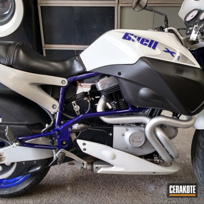 Buell Motorcycle Headers coated in C-7700 Glacier Silver