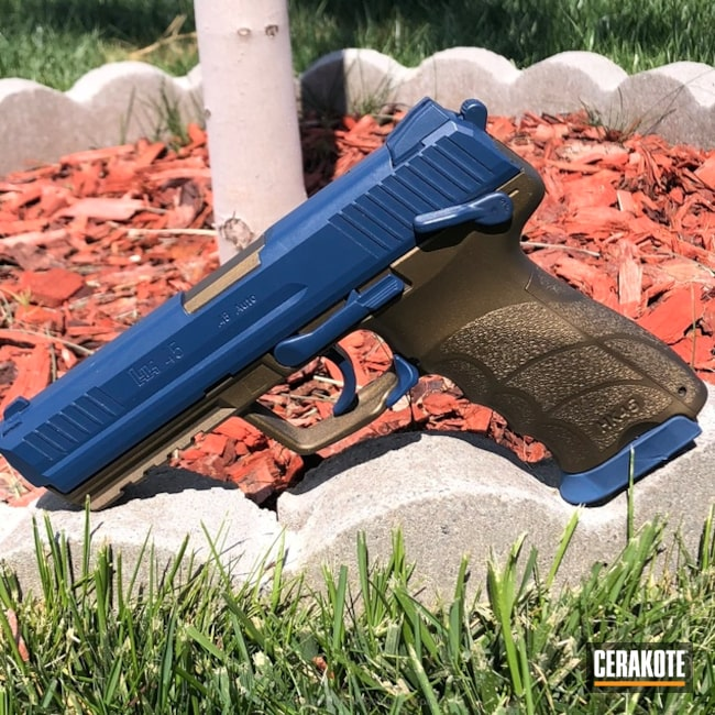 "Thumbnail image for project ""HK45 Handgun done in H-148 Burnt Bronze and H-127 Kel-Tec Navy Blue"""
