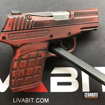 Cerakoted Keltec Handgun Done In Graphite Black And Smith & Wesson Red
