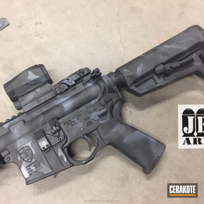 Cerakote MultiCam Black featured on this Spike's Tactical AR-15