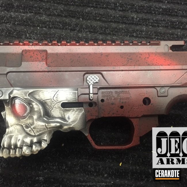Spike's Tactical Upper and Lower coated in Smith & Wesson Red and Graphite Black
