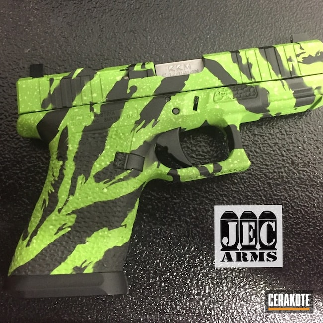 Glock Handgun done in H-146 Graphite Black and H-168 Zombie Green