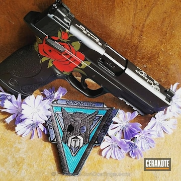 Cerakoted Smith & Wesson M&p Handgun Coated In A Cerakote Rose Pattern