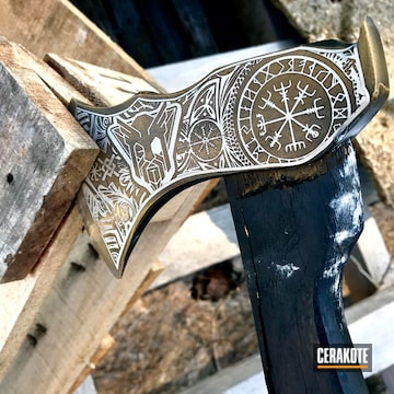 Cerakoted Laser Engraved Throwing Axe Coated In H-190 Armor Black And H-122 Gold