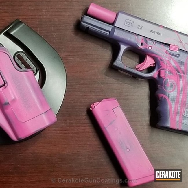 Glock 23 Handgun done in a Custom Pink and Purple Finish