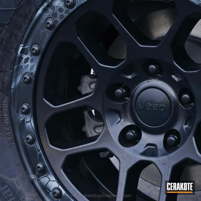 Jeep Wheel coated in H-146 Graphite Black