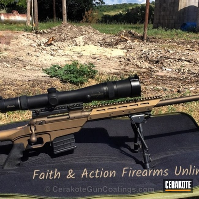 Bolt Action Rifle coated in Midnight Bronze and Burnt Bronze