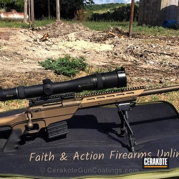 Cerakoted Bolt Action Rifle Coated In Midnight Bronze And Burnt Bronze