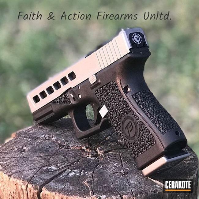 Cerakoted: Glock 19,Company Logo,Temple Builders,Stippled,Pistol,Titanium H-170,Glock,Slide Cut,Slide