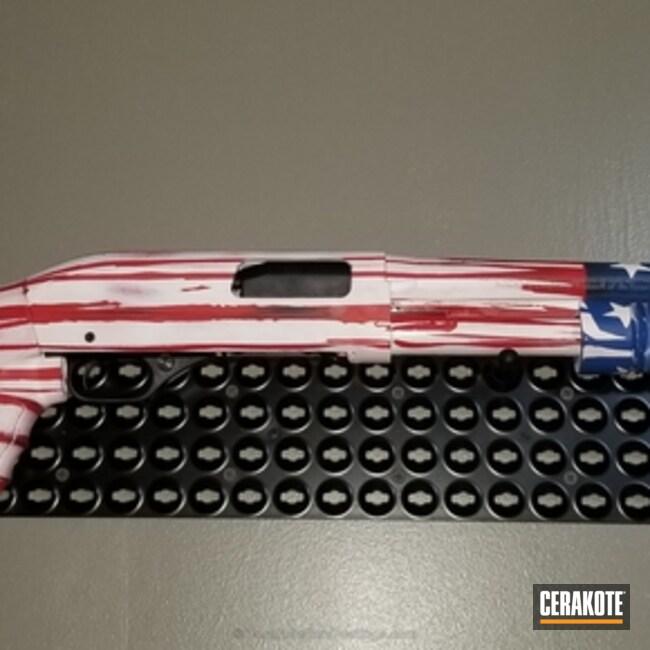 Cerakoted: Bright White H-140,NRA Blue H-171,Shotgun,USMC Red H-167,American Flag
